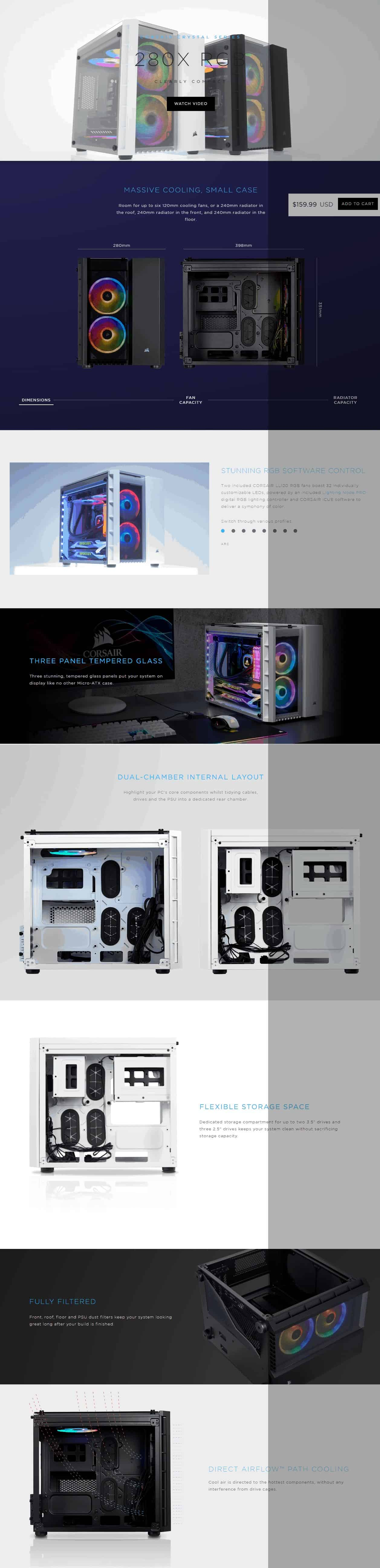 CORSAIR CABINET CRYSTAL 280X RGB BLACK, WHITE Micro-ATX Case, 2 RGB Fans, Lighting Node PRO Included, Tempered Glass