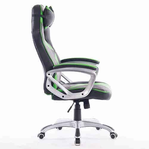 Ant E Sports WB-8077 Green PU + PVC Black Metal Frame, 80mm Class 2 Gas Fit, 350mm Metal Base, Adjustable Backrest Angle : 90-135 Degree Gaming Chair