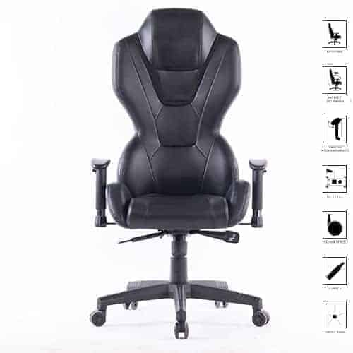 Ant E Sports 8198 PU and PVC Metal Frame Gaming Chair with Adjustable Backrest Angle (Black)